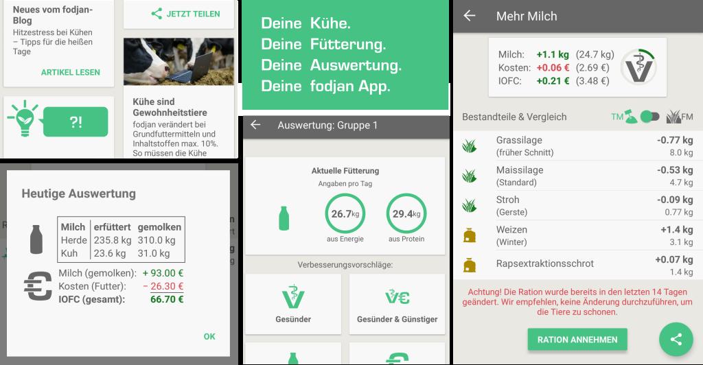 Einblicke in die fodjan App - Futtermischung, Futterrechner, Kuhfütterung und Auswertungen